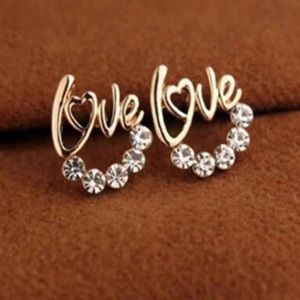 Jewelry - Brand New Love Gold Rhinestone Stud Earrings